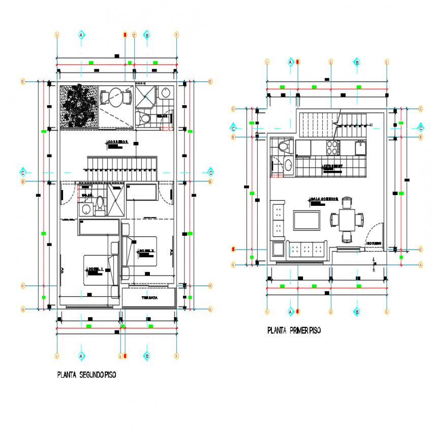 Ground and first floor plan details of two story house dwg file