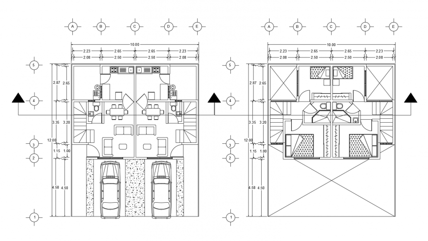 Ground and first floor plan distribution details of duplex house dwg file