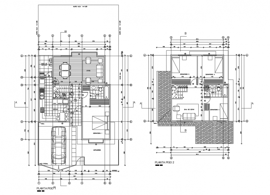 Ground and first floor plan distribution details of residential house dwg file