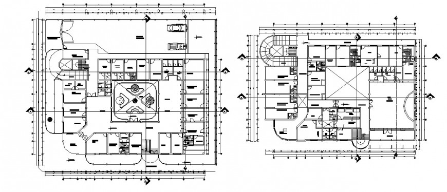 Ground and first floor plan drawing details of hospital building dwg file