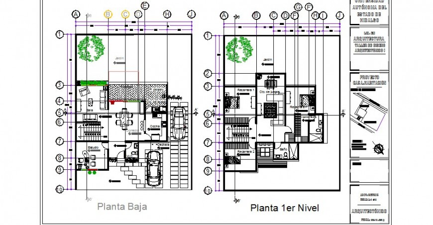 Ground and first floor plan drawing details of one family house dwg file