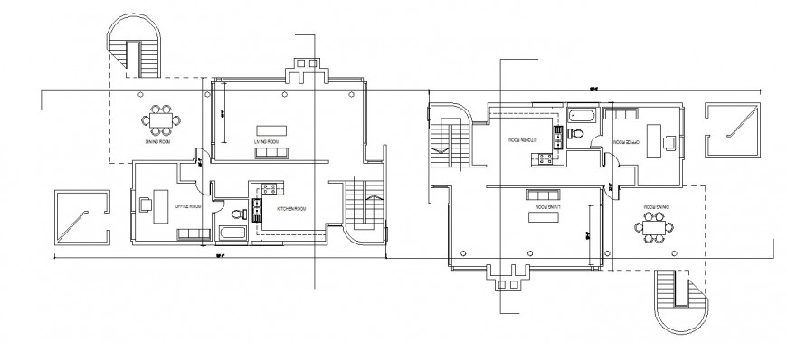 Ground and first floor plan drawing details of three story house dwg file