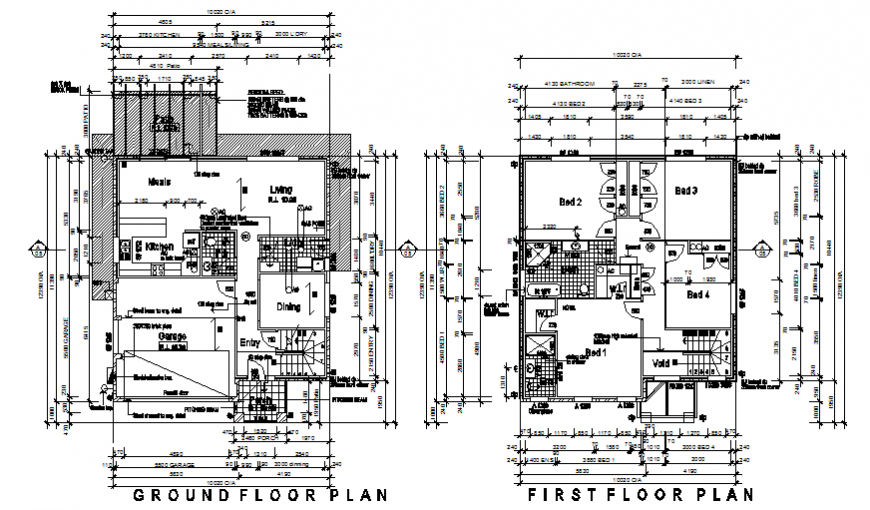 Ground and first floor plan housing plan layout file
