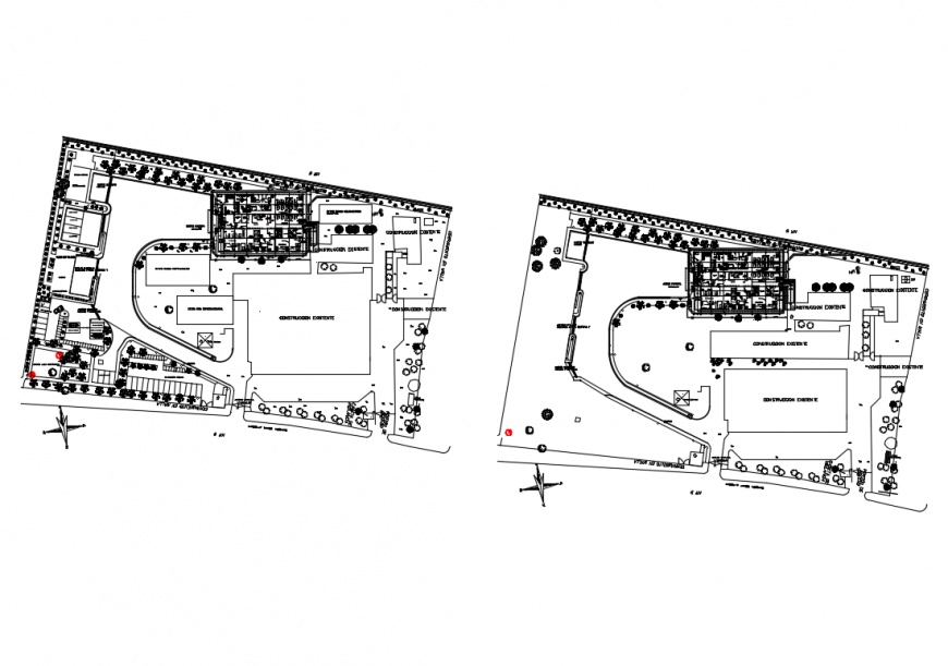 Ground and first floor plan layout details of emergency hospital building dwg file