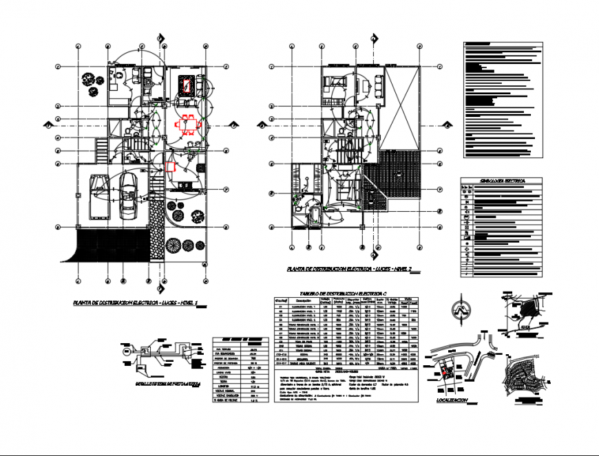 Ground and first floor plan with electrical distribution plan of house dwg file
