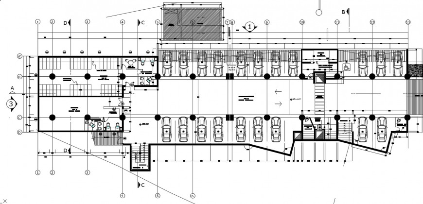 Ground and parking floor distribution plan details for municipality building dwg file