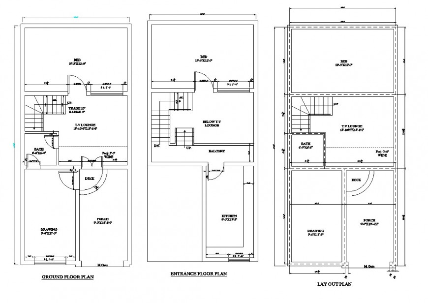 Ground floor, entrance and layout plan drawing details for house dwg file