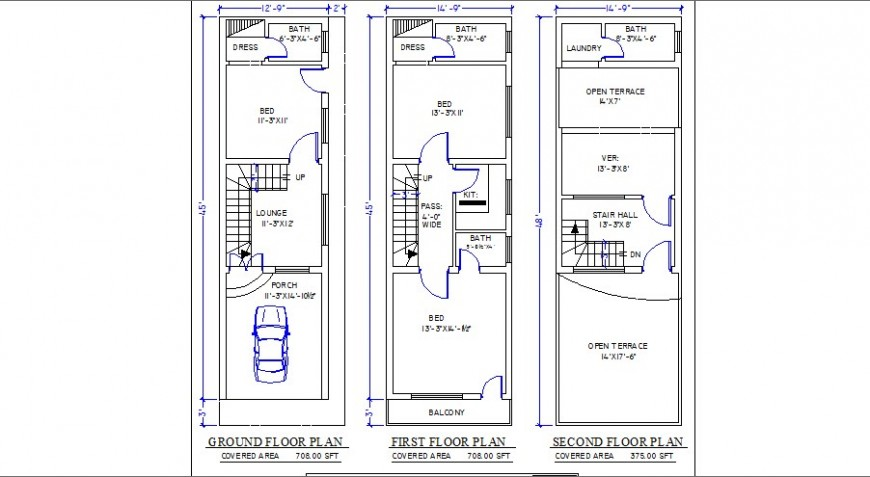 Ground floor, first and second floor plan details of residential house dwg file
