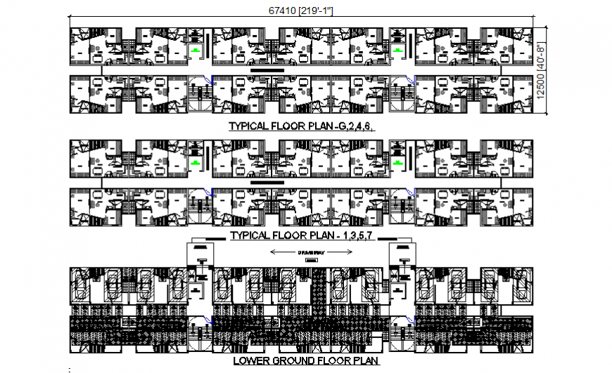 Ground floor, first floor and second floor plan details of multi-family apartment building dwg file