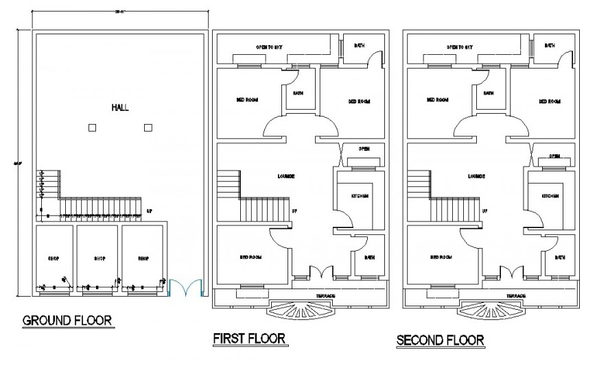 Ground floor, first floor and second floor plan of flat drawing in dwg AutoCAD file.