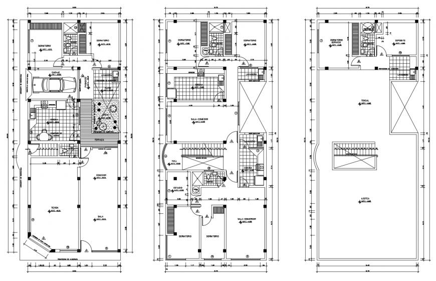 Ground floor, first floor and terrace floor plan details of house dwg file