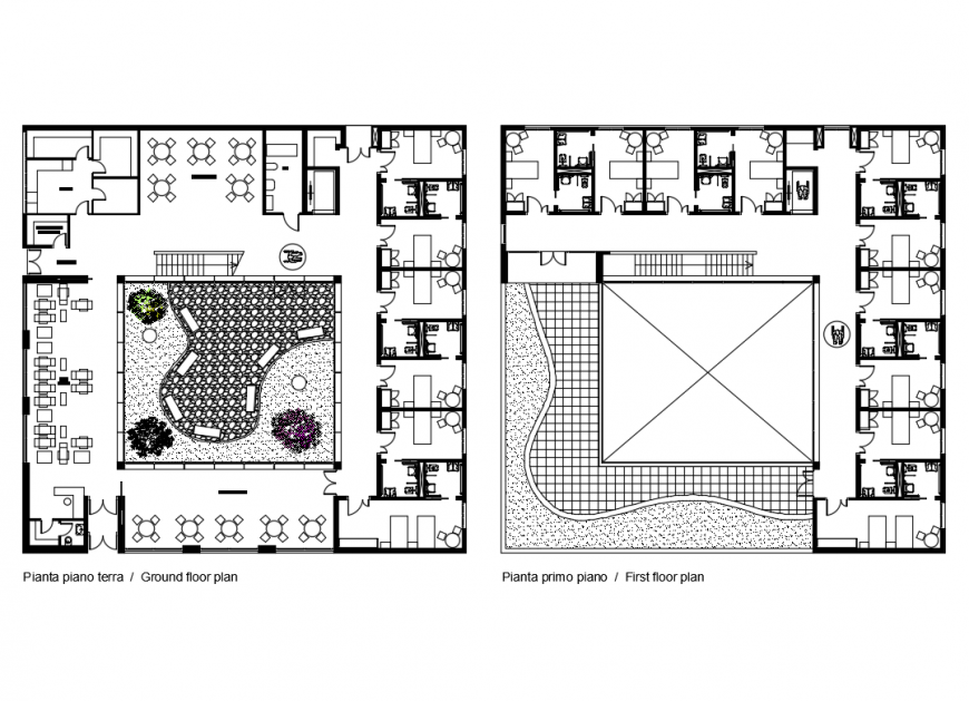 Ground floor, first floor and terrace plan details of multi family housing apartment building dwg file