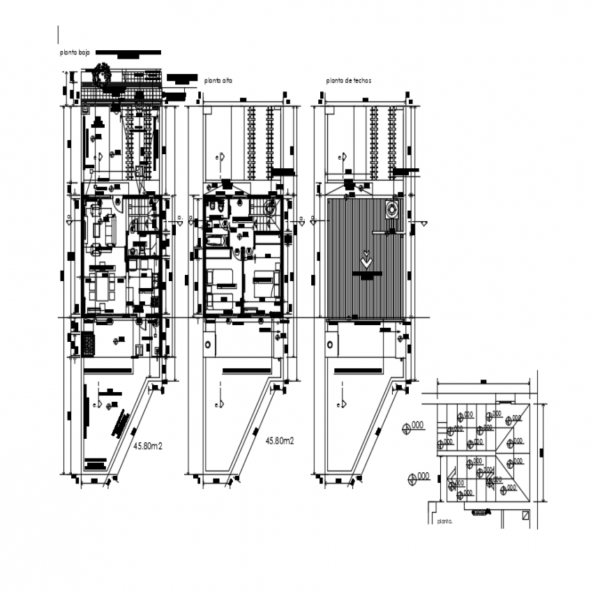 Ground floor, first floor and terrace plan details of residential house dwg file