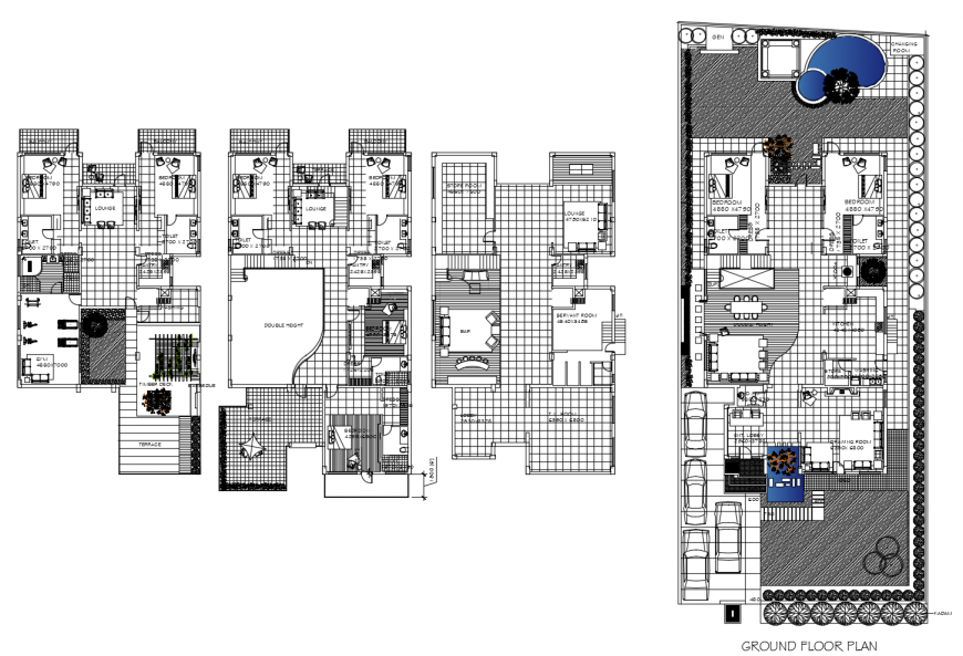 Ground floor, first floor etc floor plan distribution details of residential bungalow dwg file