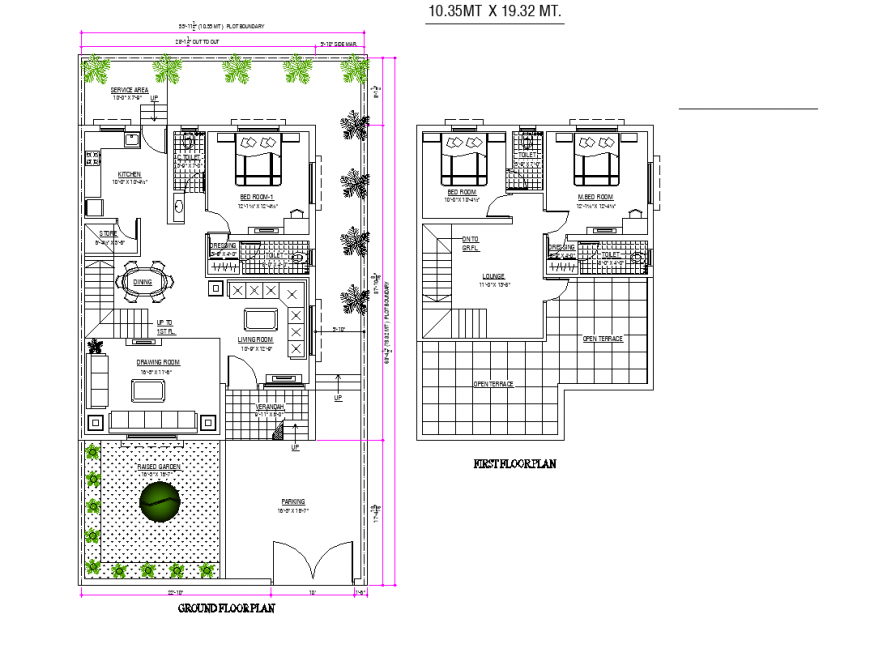 Ground floor and first floor housing plan detail dwg file