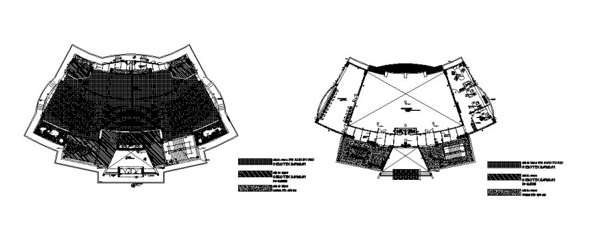 Ground floor and first floor layout plan details of multiplex theater dwg file