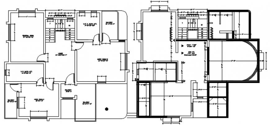 Ground floor and first floor layout plan of residence project