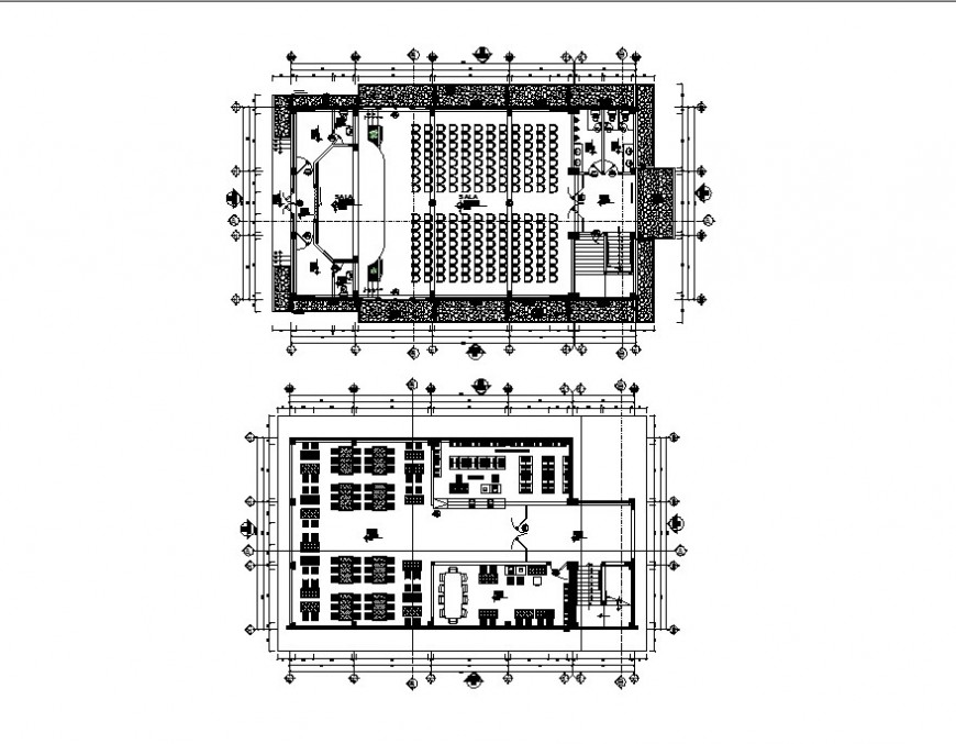 Ground floor and first floor plan of auditorium hall cad drawing details dwg file