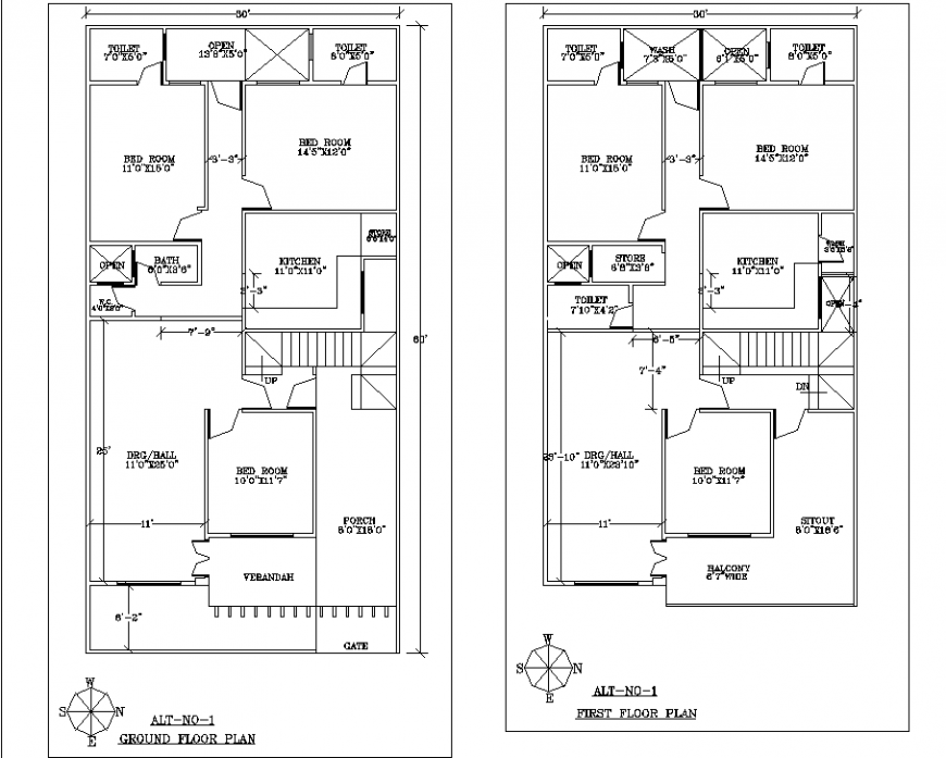 Ground floor and first floor plan of bungalow in dwg file.