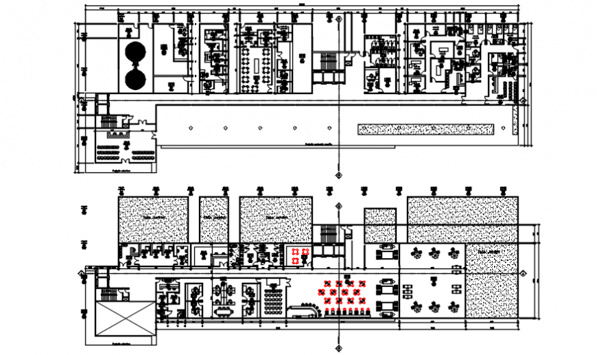 Ground floor and first floor plan of hospital in AutoCAD