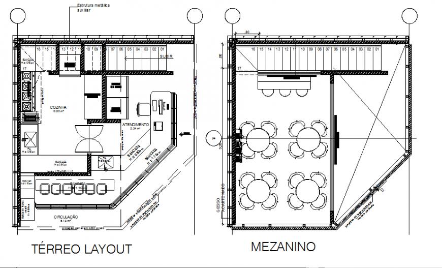 Ground floor and mezzanine plan dwg file