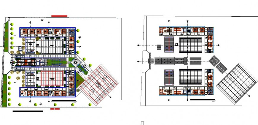 Ground floor and second floor layout plan details of school building dwg file