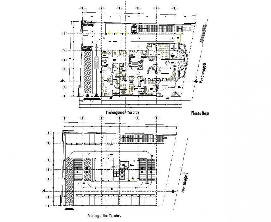 Ground floor and terrace floor office plan autocad file