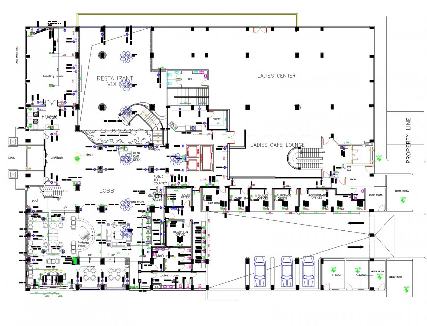 Ground floor commercial building furniture detail dwg file