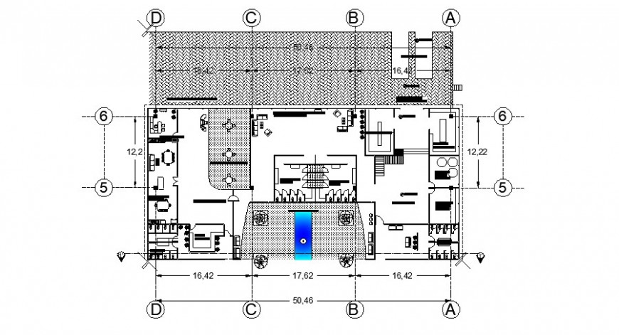 Ground floor distribution plan details of corporate office building dwg file