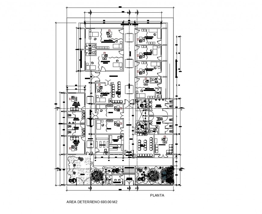 Ground floor distribution plan details of health center building dwg file