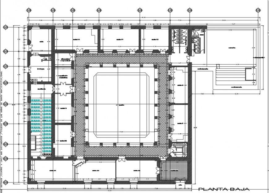Ground floor distribution plan details of primary girls school dwg file