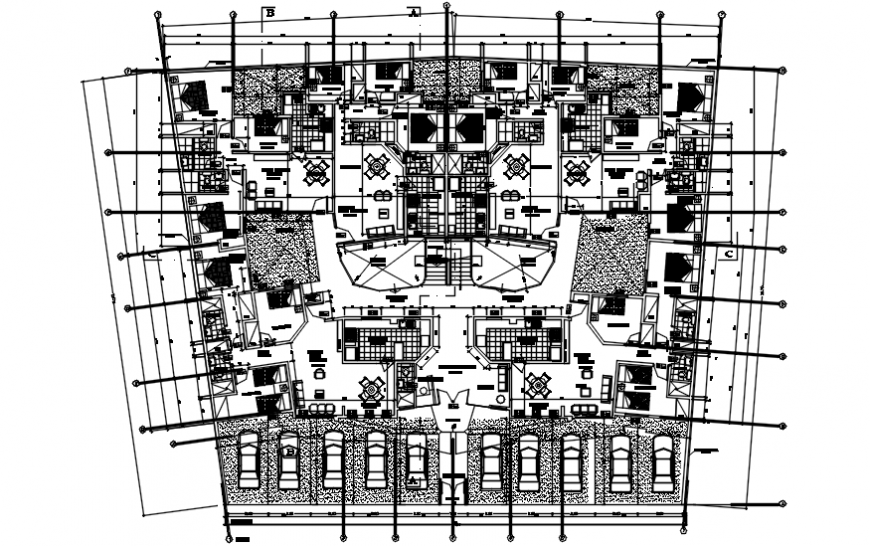 Ground floor distribution plan details of residential flats building dwg file