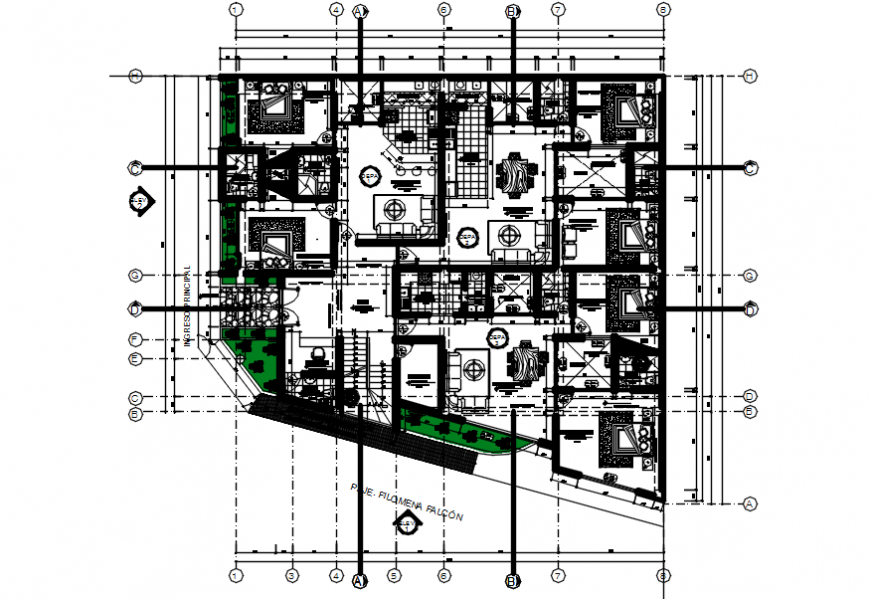 Ground floor distribution plan of apartment building dwg file