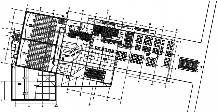 Ground floor distribution plan of shopping center with hotel dwg file