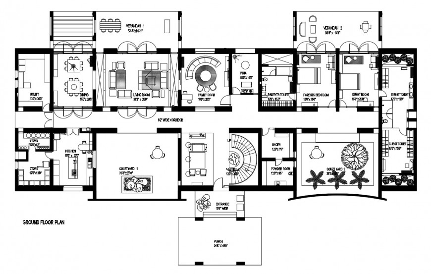 Ground floor distribution plan with furniture layout of residential villa dwg file