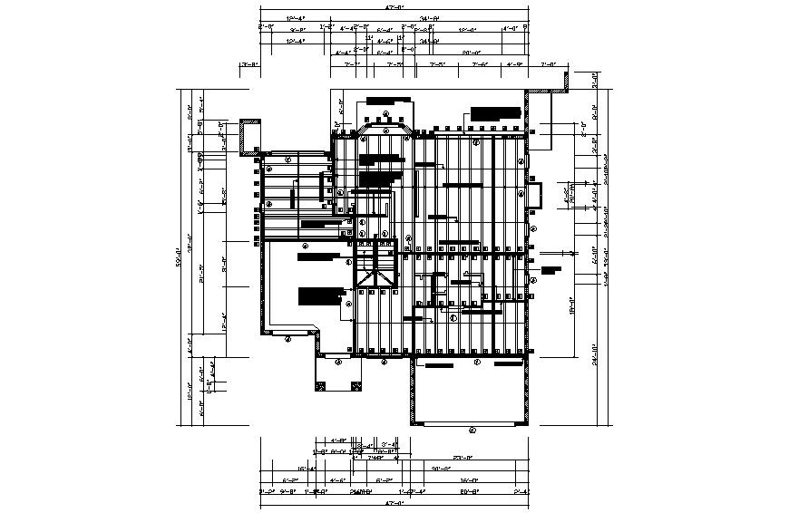 Ground floor framing plan details of single family house dwg file