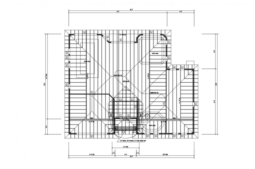 Ground floor framing plan structure details of residential house dwg file