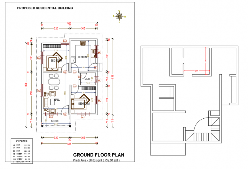 Ground Floor Furniture Lay-out design