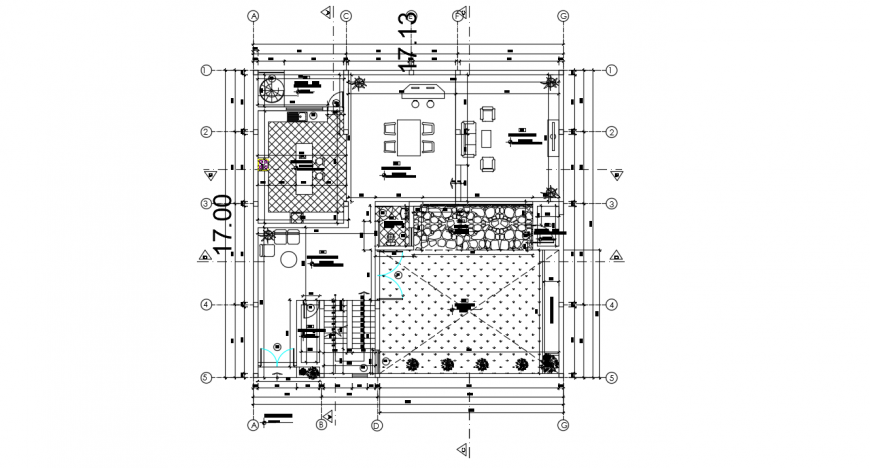 Ground floor layout plan details for uni-familiar house dwg file