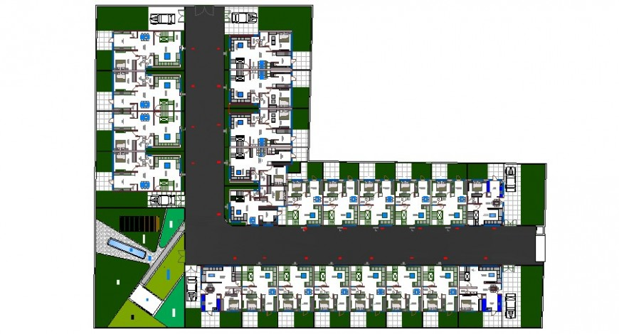 Ground floor layout plan details of multi-family apartment building dwg file