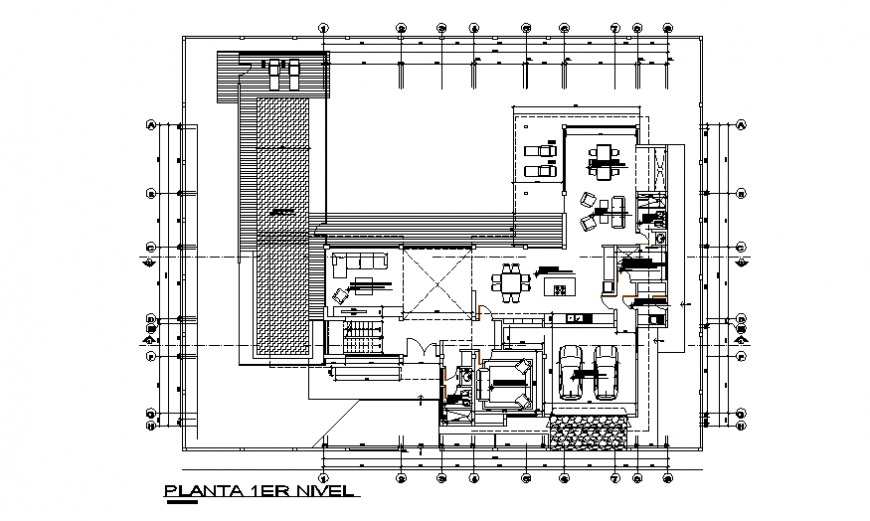 Ground floor layout plan details of one family house dwg file