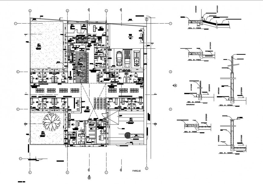 Ground floor layout plan details of polyclinic hospital dwg file