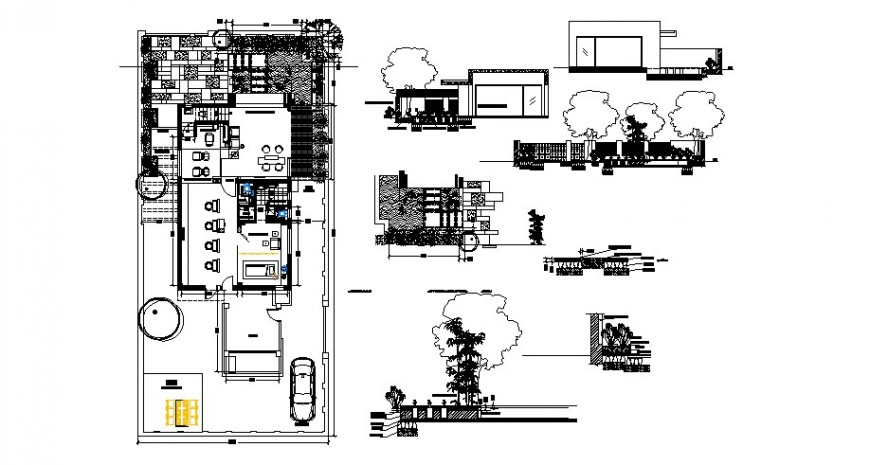 Ground floor layout plan of office building and gate and fence cad drawing details dwg file