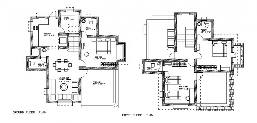 Ground floor plan and first floor plan details of residential house dwg file
