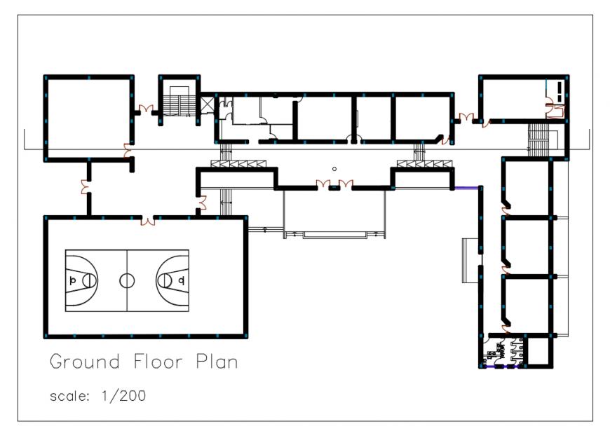 Ground Floor plan Detail in DWG File