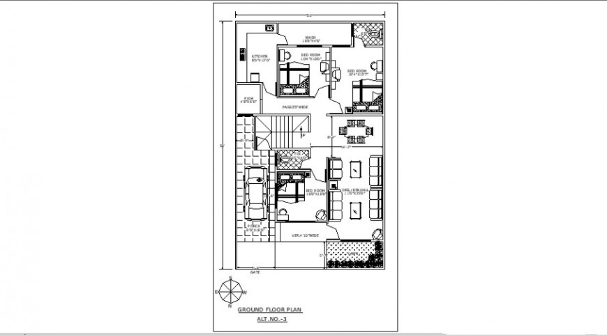 Ground floor plan details of house with three bedrooms drawing details dwg file