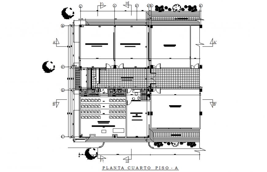 Ground floor plan details of multi-flooring school building dwg file