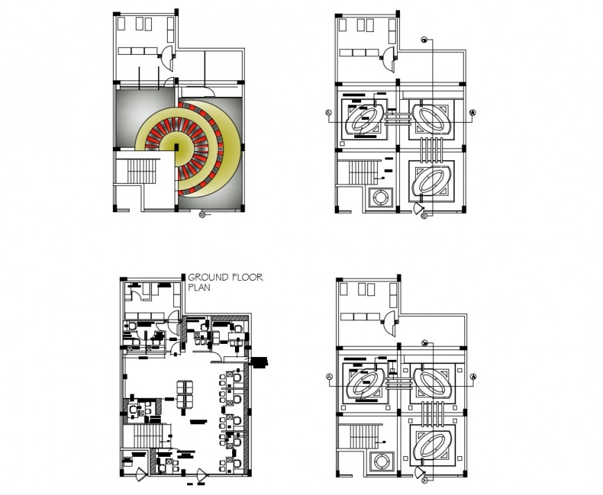 Ground floor plan details of office with ceiling and interior dwg file