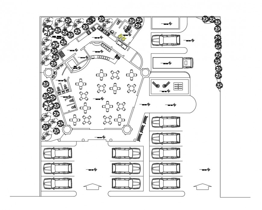 Ground floor plan layout details of ecological restaurant cad drawing details dwg file