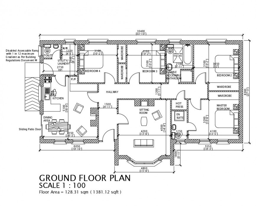 Ground floor plan of a house design, dwg file